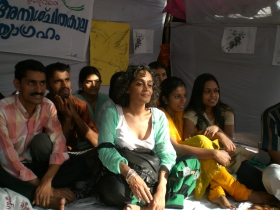 Fasting students get a break from visit by author, Arundhati Roy