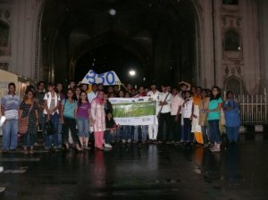 IYSoCC Participants in front of the Charminar in Hyderabad city